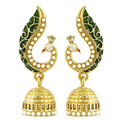 Peora Donna Peacock Jhumkis For Girls & Women (Green)