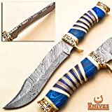 NoonKnives : Hand Made Damascus Steel Collectible Bowie Knife & Handle Camel Bone with Pakka Wood (Blue) (Color: Blue)