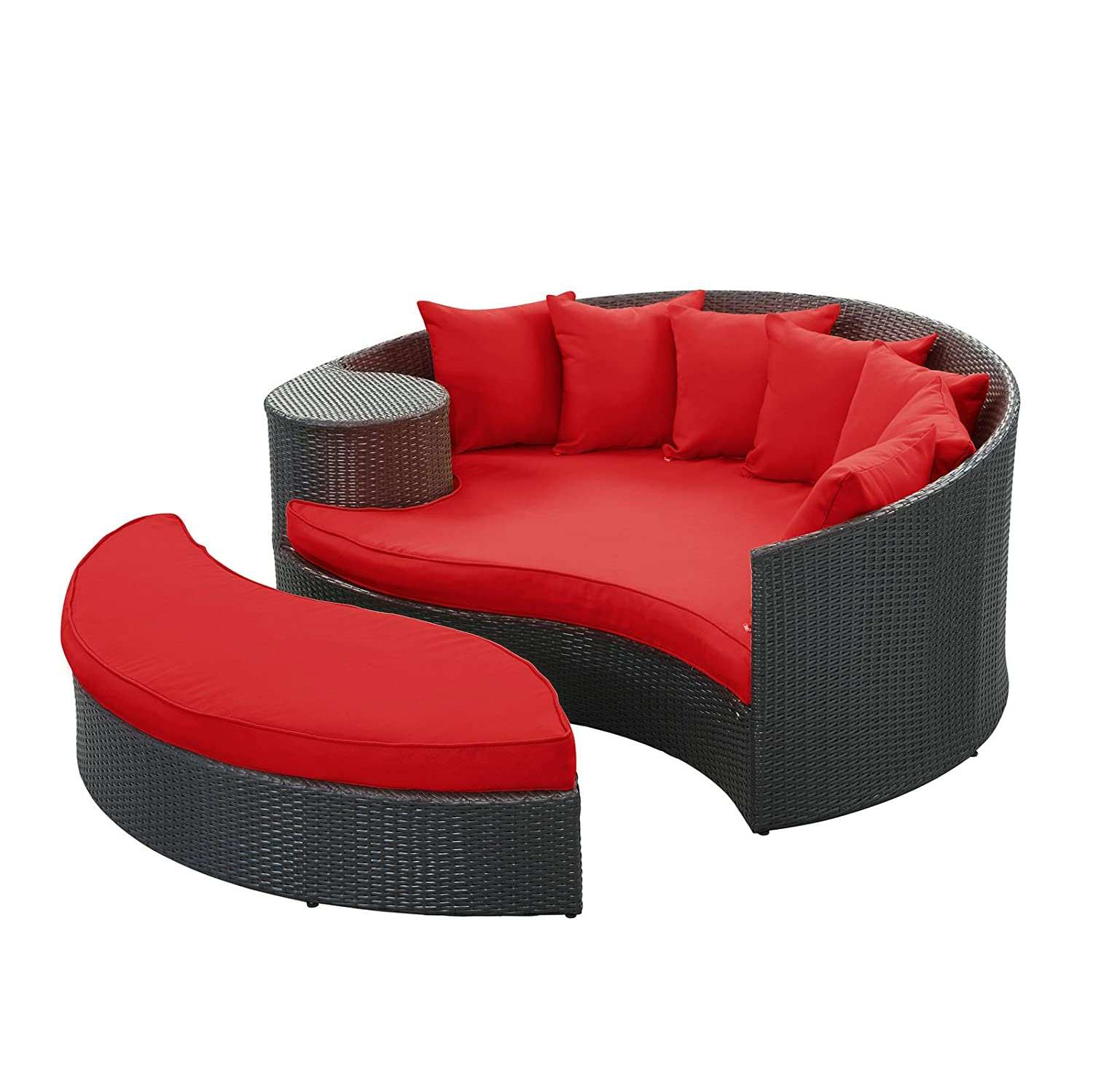 Red cushions beautiful patio sofa furniture round daybed for Round patio couch