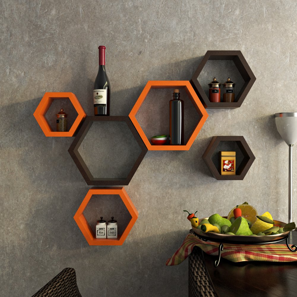Roll over image to zoom in DecorNation DecorNation Wall Shelf Rack Set of 6 Hexagon Shape Storage Wall Shelves for Home - Orange and Brown