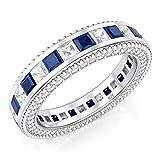 Sz 9 Sterling Silver 925 Princess Cut Blue & White Cubic Zirconia CZ Eternity Band Ring