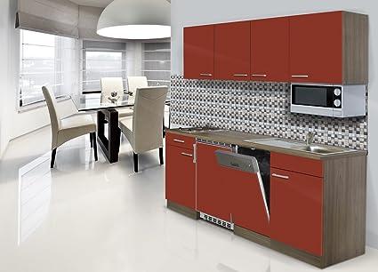 Respekta Built-in Kitchen Unit 195cm red Hob York Oak Microwave
