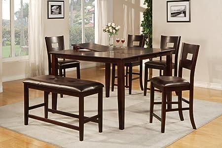 Poundex F2335 & F1135 Dark Brown Finish W/ Black Vinyl Counter Height Dining Set