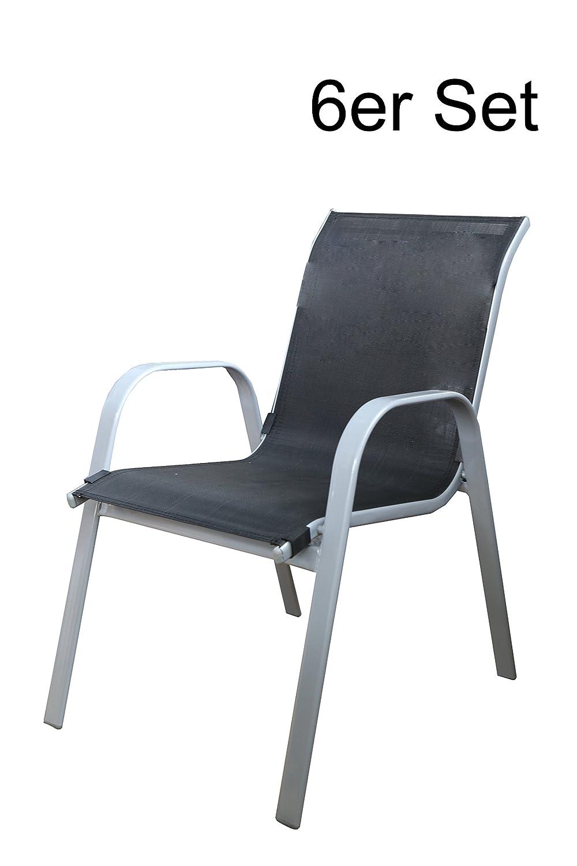 172142 Gartenstuhl stapelbar, silber/schwarz 6er Set günstig bestellen