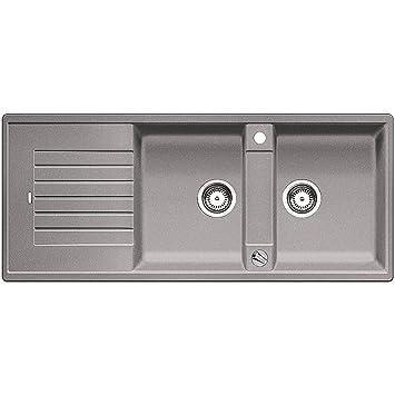 blanco zia 8 s silgranit puradur ii sp le becken reversibel f r 80 cm unterschrank alumetallic. Black Bedroom Furniture Sets. Home Design Ideas