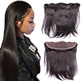 Brazilian Virgin human Hair 13x4 Full Lace Frontal Closure Straight Ear To Ear Sunwell Human Hair Extensions Top Lace Front Closures With Baby Hair Bleached Knots Natural Color 10 inches