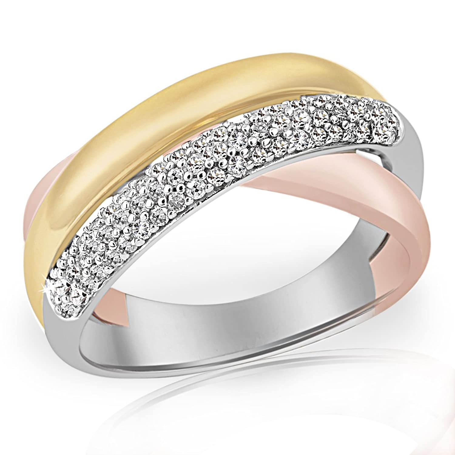Goldmaid Damen-Ring Pavee Tricolor 375 Gold 62 Diamanten 0,33 ct. Pa R4933TR schenken