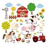 Farm Friends Baby/Nursery Peel & Stick Wall Art Sticker Decal (Color: Black, Tamaño: 10 inch  x 18 inch)