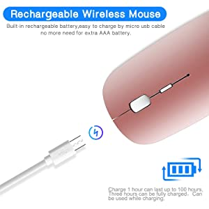 Ultra-Thin 2.4G Office Wireless Mouse Mute Charging Mouse Notebook Home Mouse with USB Receiver Compatible for Notebook, PC, Laptop, Computer, MacBook