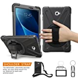 BRAECNstock Galaxy Tab A 10.1 Case [Heavy Duty] Full-Body Rugged Protective Case with Built-in Kickstand/Hand Strap Grip/Shoulder Strap for Samsung Galaxy Tab A 10.1 inch 2016(No Pen Version) Black (Color: Black)