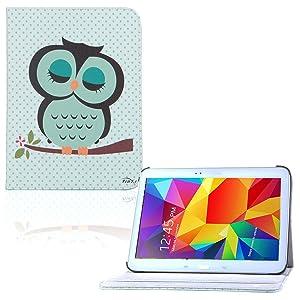tinxi® PU piel funda para Samsung Galaxy Tab 4 10.1 10,1 pouces (25,65cm) popular y nuevo con el verde fondo y la lechuza  Electrónica Comentarios