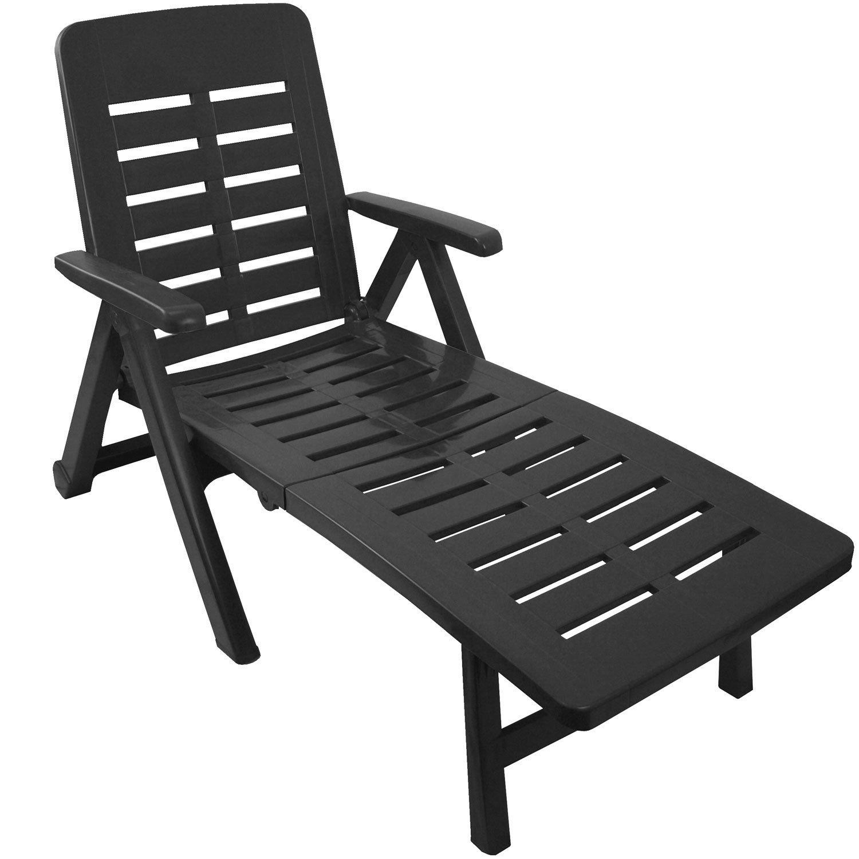Klappbare Liege mit 2 Rollen Rücken 5-fach verstellbar Gartenliege Sonnenliege Rollliege Relaxliege Liegestuhl Gartenstuhl Klappstuhl Kunststoff - Anthrazit