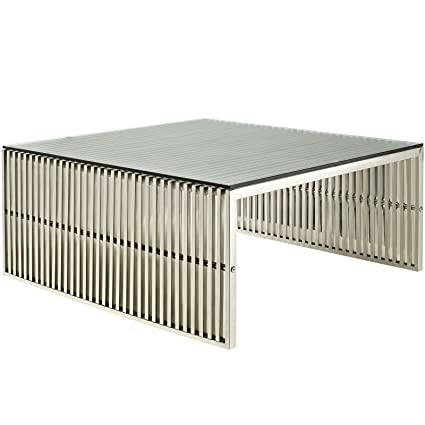 LexMod Gridiron Stainless Steel Coffee Table with Tempered Glass Top