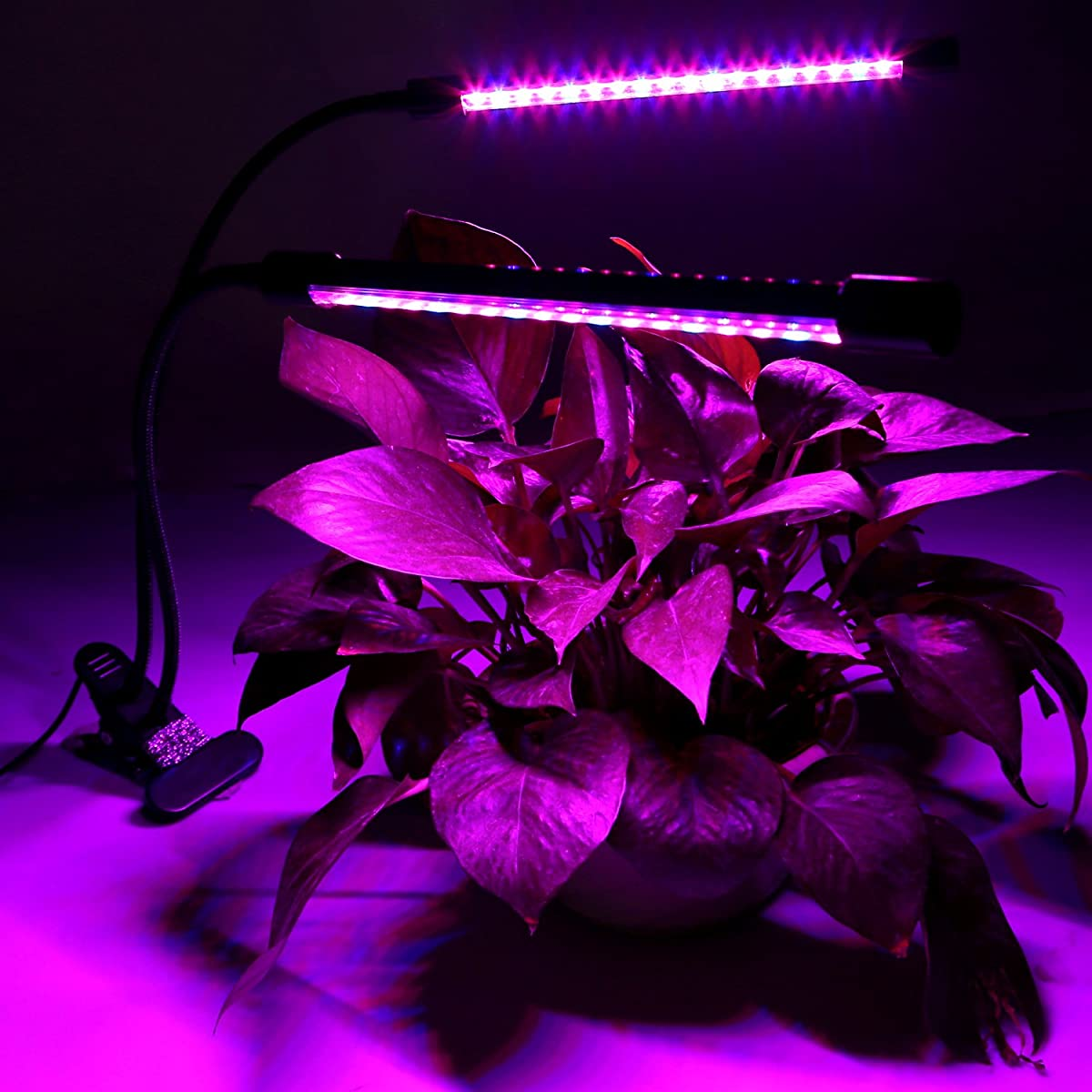 Newforshop Upgraded Dual-lamp LED Grow Light 18W Dimmable 2 Levels Plant Grow Lamp Lights Bulbs with Adjustable Flexible 360 Degree Gooseneck for Indoor Plants Hydroponics Greenhouse Garden Office