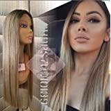 Celebrity Ash blonde/dark human hair lace front wig wig with dark roots 24 inches (Color: ash blonde)