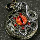 Steampunk Antique Pocket Watch Necklace Victorian Pendant Charm Glass RED Fire Dragon Eye with Snake (Color: bronze)