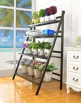 Bastidores de flores, estantes de flores de salón Flor de hierro bastidores de madera de balcón marco de la flor de flor estante de la flor de múltiples capas de escalera Flower Rack Balcón, soporte de flores al aire libre ( Ta