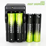 4X 5800mAh Li-ion 18650 3.7V Rechargeable Battery + 1X Dual Smart Charger Tokeyla shipped from USA