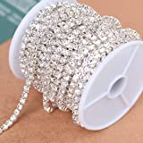 BLINGINBOX Rhinestones Chain 10 Yards SS8/2.5mm Crystal Glass Sew On Rhinestones Cup Chain With Silver Bottom Sew On TrimCrystal-(ss8-2.5mm, Crystal-Silver Bottom) (Color: Crystal-Silver Bottom, Tamaño: ss8)