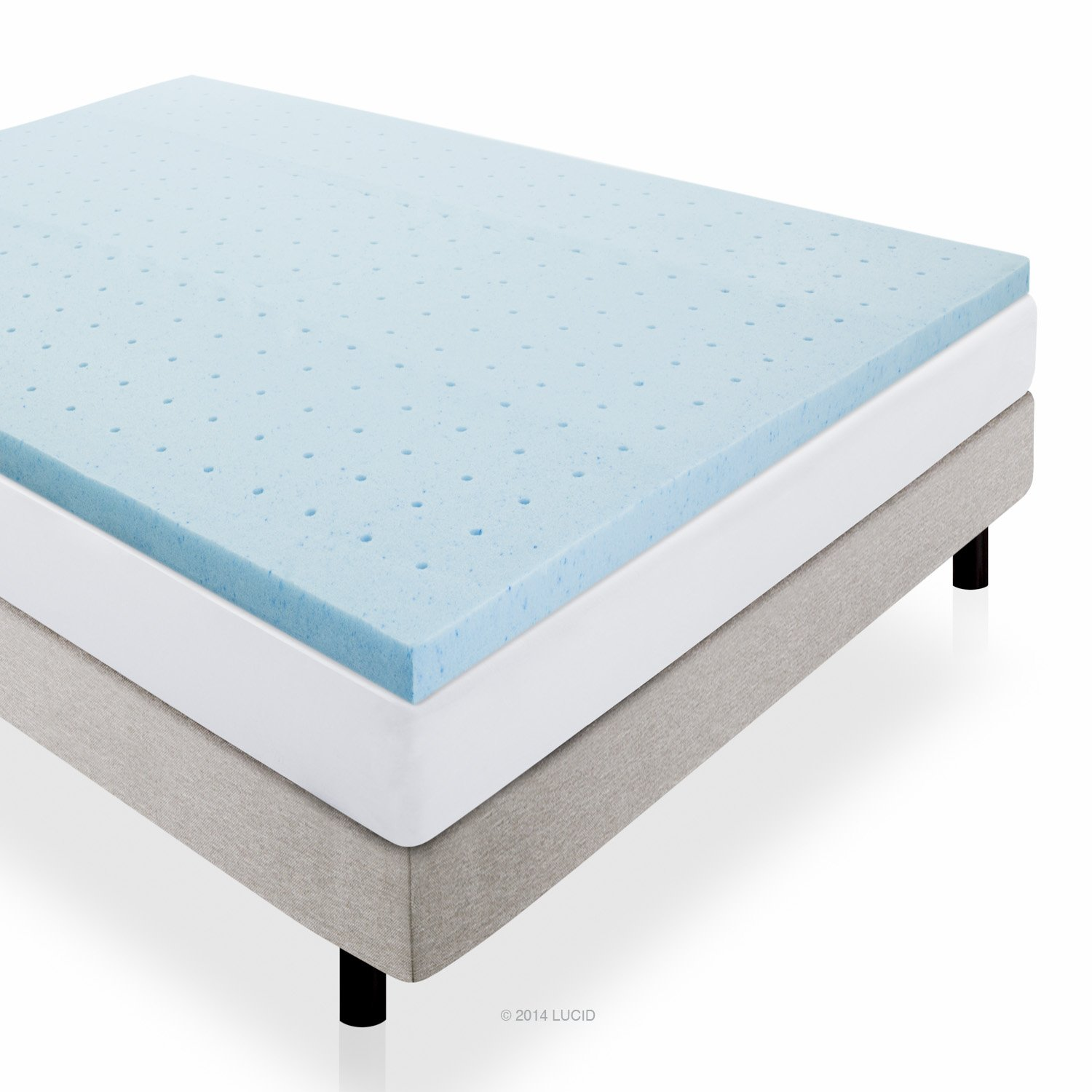 LUCID 2 Inch Gel Infused Ventilated Memory Foam Mattress Topper – 3-Year Warranty – Queen