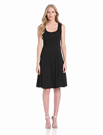 Anne Klein Women's Stretch Dobule Weave Sleeveless Fit and Flair Dress, Black, 4