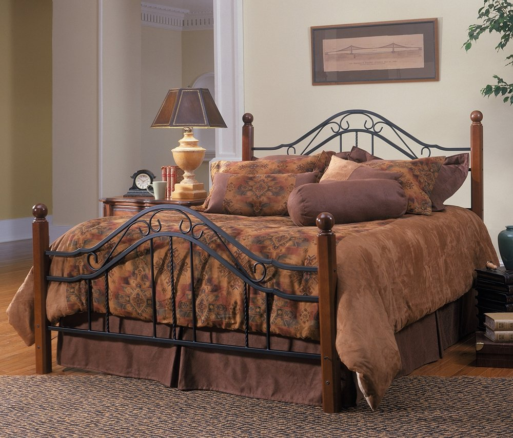 Queen Size Bed Frame Rustic Bedroom Furniture Antique Headboard Metal Wood Ho