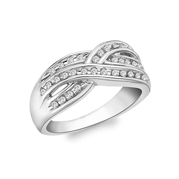 Carissima Gold 9ct White Gold 0.25ct Triple Crossover Diamond Ring