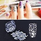 MEILINDS 12 Colors Mixed Shape Glass Paper Nail Flakies Paillette Nail Art Glitter Sequins Flakes Tips (Color: White Sequins)