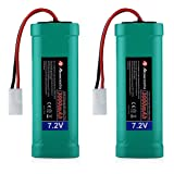 Powerextra 2 pcs 7.2V 3000mAh Flat NiMH High Power Battery Packs with Ket Connectors Compatiable RC Cars, RC Truck, RC Airplane, RC Helicopter, RC Boat (Tamaño: 2 PCS)