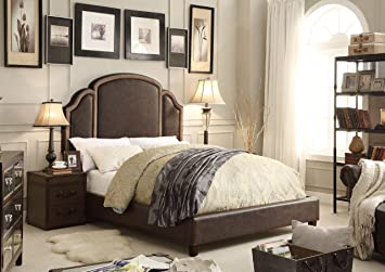 Millbury Home Ricca 2 Tone Espresso Queen Upholstered Platform Bed