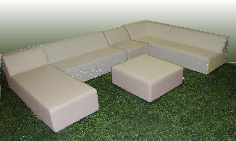 WOHNWERK! Lounge Möbel Serie MOOD! 6er Set - Absolut witterungsbeständig - (Beige, Material Stoff) Outdoor
