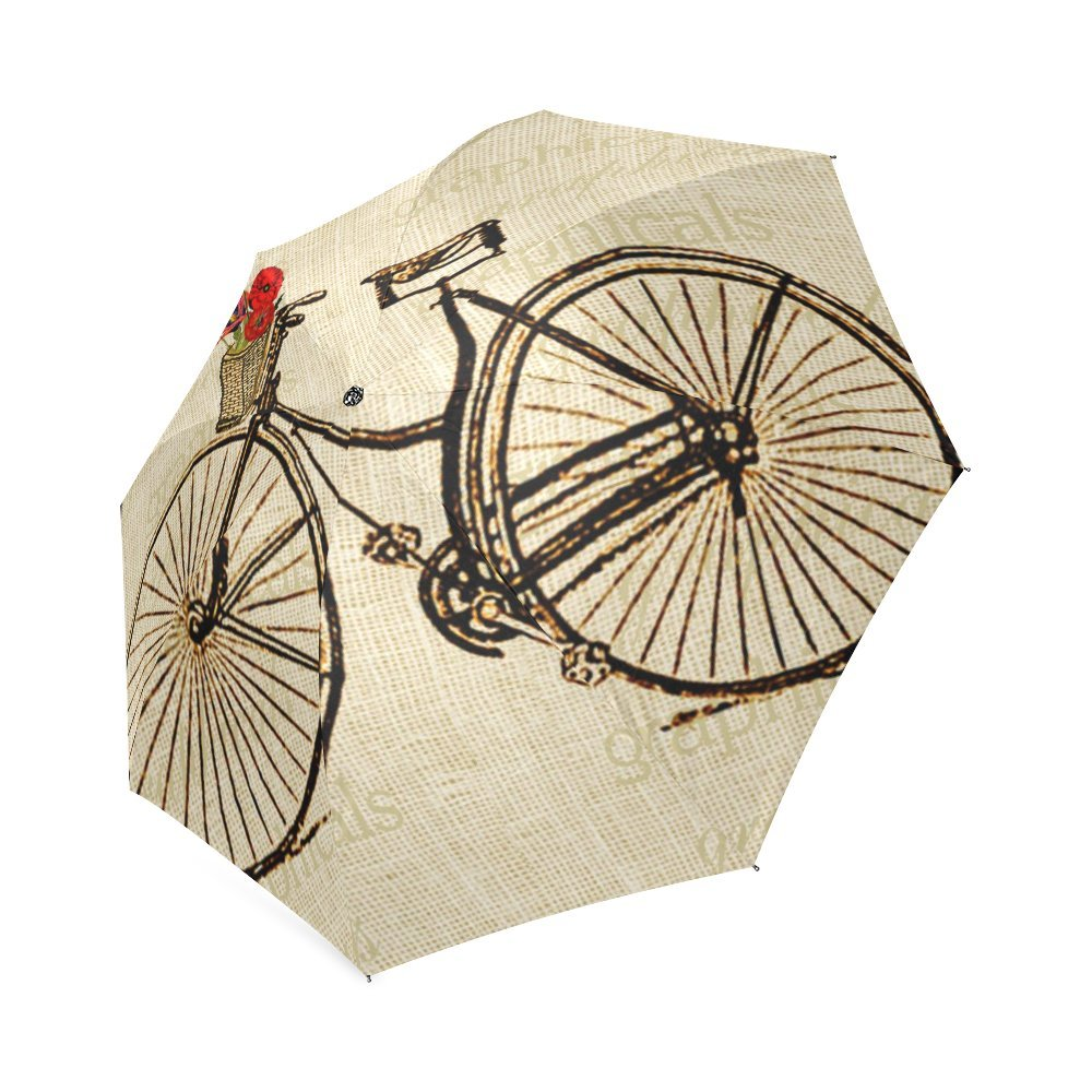 Vintage Bicycle and Flowers Print Design Lightweight Rain/Sun Umbrella Folding Anti-uv, Wind-proof Travel Umbrella 1