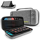 Hard Storage Case Compatible with Nintendo Switch, tomtoc Original Protective Hardshell Travel Handle Case Carrying Bag Cover fit Nintendo Switch Console and Accessories, 24 Game Card Slots (Color: Gray)