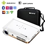WOWOTO H10 Mini Video Projector Portable, DLP Android 6.0 Projector 4500 Lumen with WiFI Bluetooth Airplay HDMI USB Support 3D 4K 1080P Full HD for Home Theater Business (Color: WhiteGold, Tamaño: H10)