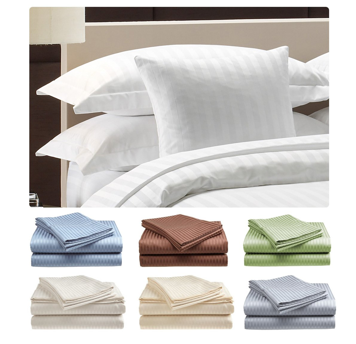 King Size 400 Thread Count 100% Cotton Sateen Dobby Stripe Sheet Set -Silver olympic queen size 600 thread count 100
