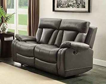 Homelegance 8500GRY-2 Double Reclining Loveseat, Bonded Leather Match, Grey