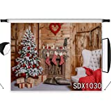 LB Christmas Backdrops for Photography 7x5ft Polyester Fabric Rustic Wood Wall Background Christmas Fireplace Photo Backdrops Customized Photo Studio Background Props,Seamless Washable (Color: Brown 1030, Tamaño: 7'W x 5'H)
