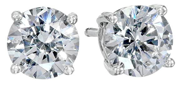 Platinum-Plated-Sterling-Silver-Swarovski-Zirconia-2cttw-Round-Stud-Earrings