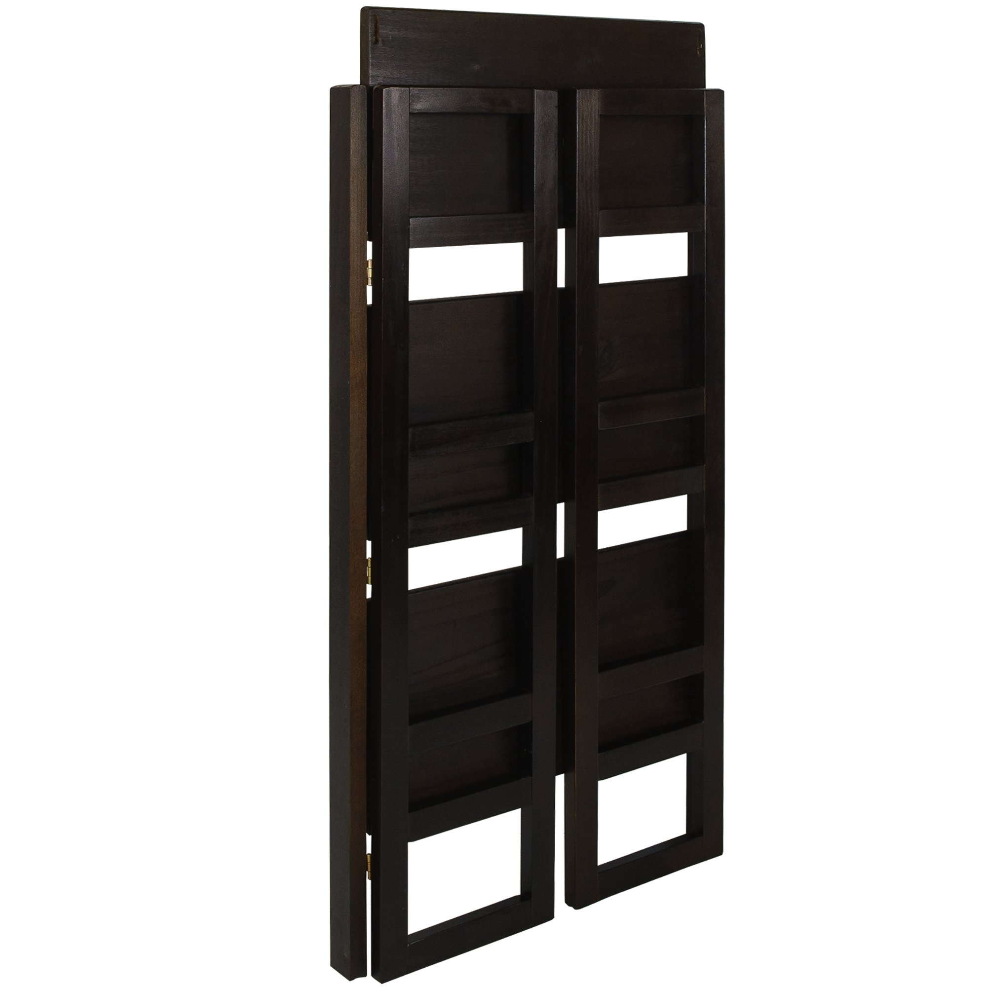 casual home 3 tier folding student bookcase wide espresso ebay. Black Bedroom Furniture Sets. Home Design Ideas
