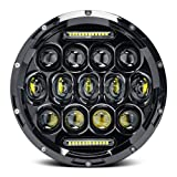 Universal 7 Inch 75W Round Daymaker LED Projector Headlight Bulb for Harley Davidson Motorcycle and LED Headlamp for Jeep Wrangler JK LJ TJ ---Waterproof Black 1 PCS (Color: 1 Headlight - style 2)