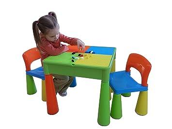 Liberty House Toys Table et chaises d'activité 5en 1avec inscription Top/rangement/Sable/Eau/, Lego