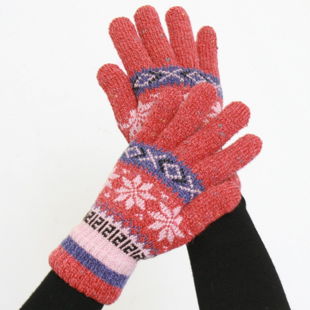 Женские перчатки Double-Layered, Super Warm Unisex Gloves with Extra Long Cuff - Cranberry