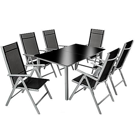 TecTake Alluminio set mobili da giardino 6+1 tavolo sedie pieghevole arredo esterno 7 pz grigio argento
