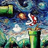 Starry Night Piranha Plant - Video Game Art - Fine art print - giclee - Mario Art - Nintendo - van Gogh Never Leveled Up - Art by Aja 12x12 inches