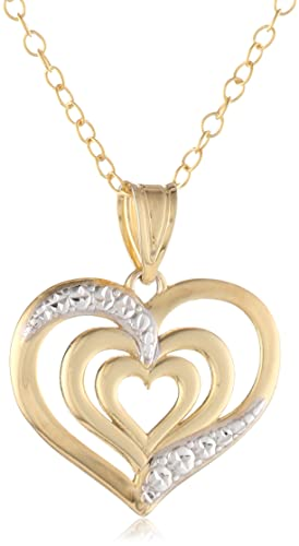 14k-Yellow-Gold-Plated-Sterling-Silver-Polished-Diamond-Cut-three-Heart-Pendant-Necklace-18-