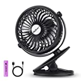SkyGenius Battery Operated Clip on Mini Desk Fan, Black (Color: Black, Tamaño: Mini)