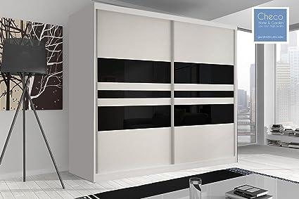 MODERN WHITE WARDROBE 7 ft 8 (233cm) MULTI F01 WITH SLIDING DOORS