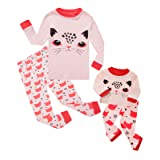 Girls Matching Doll&Toddler Cat 4 Piece Cotton Pajamas Kids Clothes Sleepwear Size 3T (Color: Pink Cat, Tamaño: 3T)