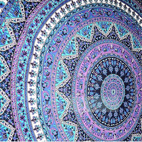KING DO WAY Indian Flowers Mandala Round Wall Hanging Cloth Velvet Snow Beach Towel Picnic Blanket Shawl, Round Yoga Mat (Wall Cover Cloth compare prices)