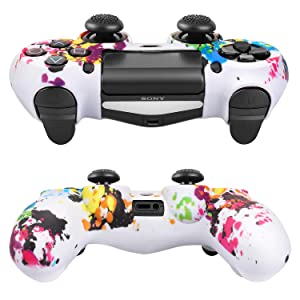 TNP PS4 / Slim/Pro Controller Skin Grip Cover Case Set - Protective Soft Silicone Gel Rubber Shell & Anti-Slip Thumb Stick Caps for Sony Playstation 4 Controller Gaming Gamepad (Splash) (Color: Splash)